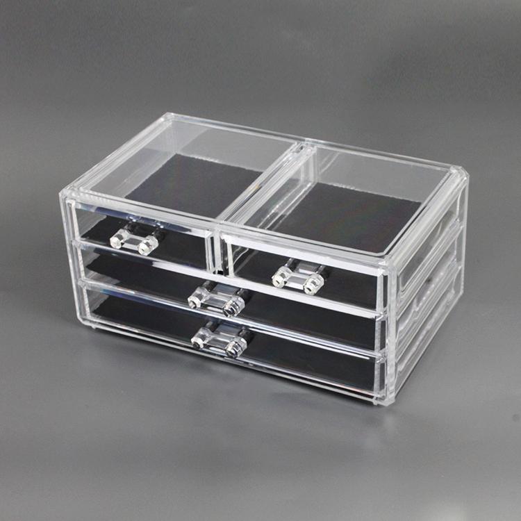 Desktop 3-Tier Transparent Jewelry Storage Box Clear Plastic Storage Drawers Jewelry Display Boxes