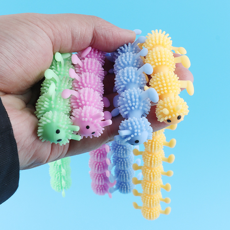 HuaMJ Wholesale Creative New Soft TPR Noodle Worm Tricky Toys Decompression and Venting Toys Stretchy String Fidget