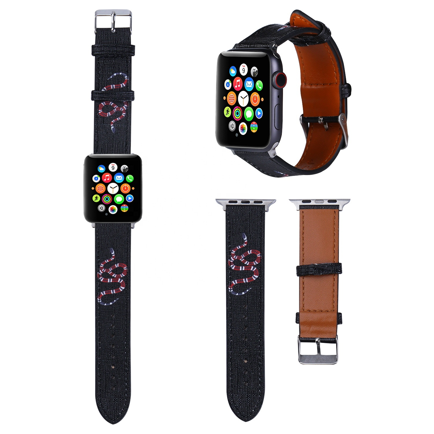 Best Selling Compatible For Apple Watch Band Luxury Design Leather Straps 44mm 42mm 40mm 38mm for iWatch Band 6 5 4 3 2