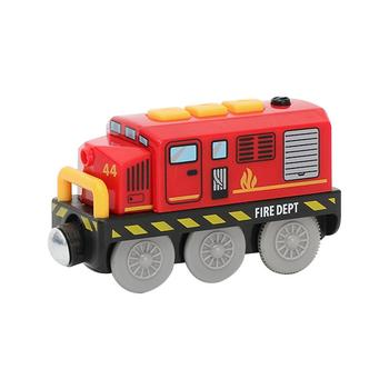 Children Electric Train Toys Magnetic Track Red Small Train Compatible With Wooden Track Railway Christmas Gift Toys
