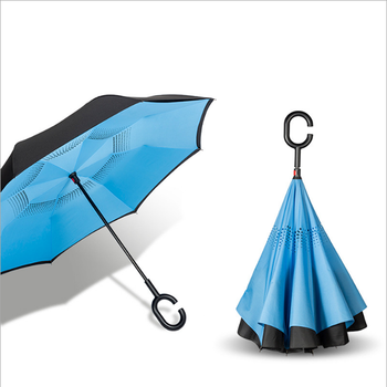 2021 New Style Wholesale High Quality Special Design Upside Down Double Layer C Handle Hook Umbrella