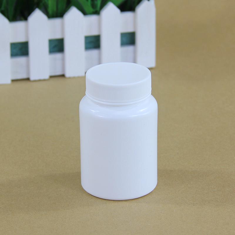 Тальковый порошок, пустая круглая пластиковая бутылка из полиэтилена высокой плотности с крышками, производители для таблеток, лекарств, белая упаковка