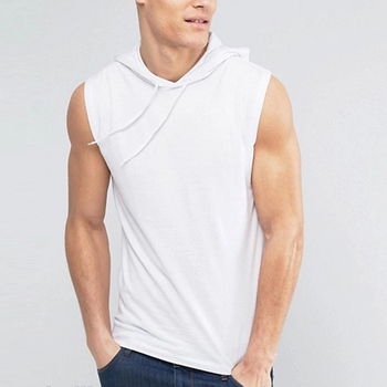 Garment factory in bangladesh plain 100% cotton tank top with hood