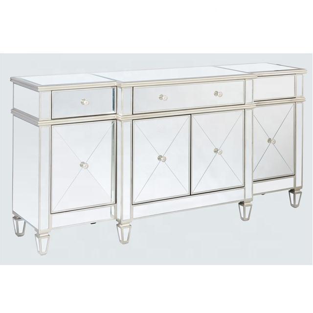 Современная мебель для столовой ручной работы, античная серебристая отделка, большой зеркальный буфетный шкаф