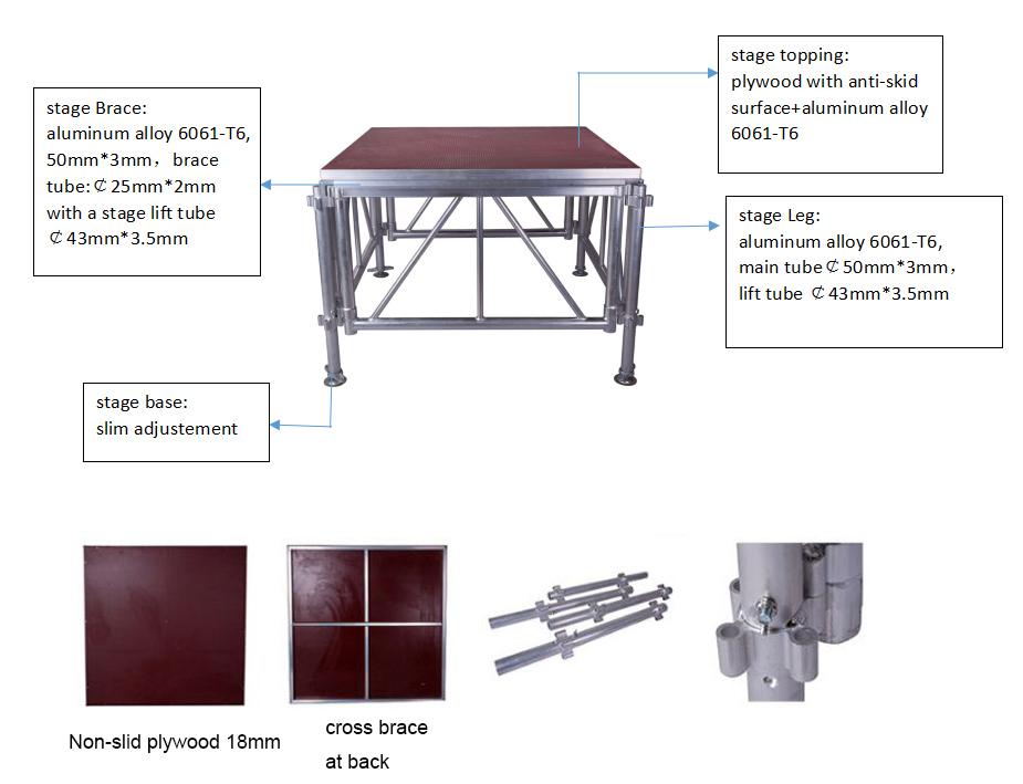 Подиум на заказ, простая установка, алюминиевая рама, регулируемая по высоте платформа для сцены/подиума, концерта, мероприятия