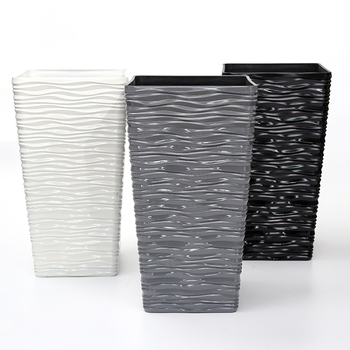 wholesale decorative indoor plant pots Modern black white square planter tall plastic flower pot