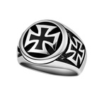 Unique Designed And Crafted Silver Tone Black Celtic Knots Iron Cross Ring Made Of Titanium Steel Vintage Jewelry Biker Ring