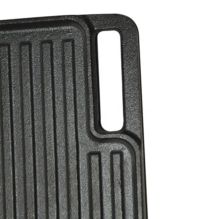 Custom made double sided cast iron bbq grill plate for meat grill for stove top
