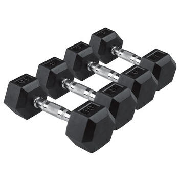 China Custom Black Fitness Gymnastics Weightlifting Rubber Hex Dumbbell Set
