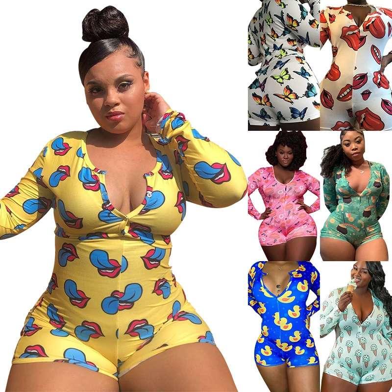 FM-TB5145 Hot selling women adult onesie pajamas long sleeve plus size sexy tights homewear pajamas