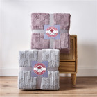 Pink DONGFANG Custom Pink Embossed Milky Velvet And Sherpa Throw Blankets Fleece