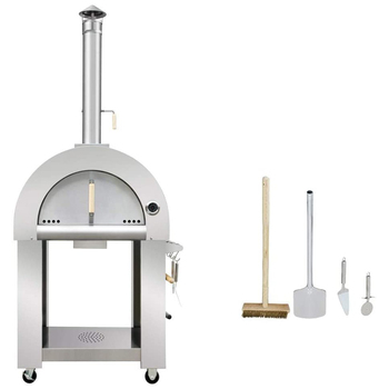 Freestanding stainless steel wood fired outdoor pizza oven with stone floor