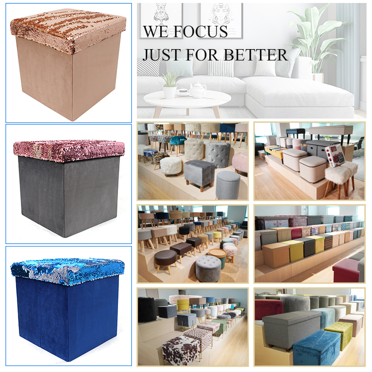 Customized beautiful special colorful velvet chair ottoman for bedroom folding storage stool ottoman set