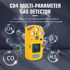 Gas Portable Diffussion Type 4 Gases Multi Gas Detector CO O2 H2S CH4 LEL For Mining Use