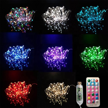 Newish 100 Bulbs 10M 33Ft USB Waterproof Remote Control Flexible Big Bulb LED String Copper Wire Fairy Lights For Christmas