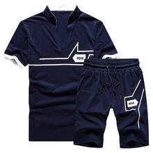 Мужской спортивный костюм, комплект летней одежды, комплект из двух предметов, Мужская футболка, шорты, тренировочный костюм, мужская спорт...(Китай)