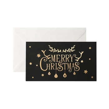 Premium Christmas Cards with Gold Foil Black Post Cards Christmas Yard Card Online Lasercut Envelopes