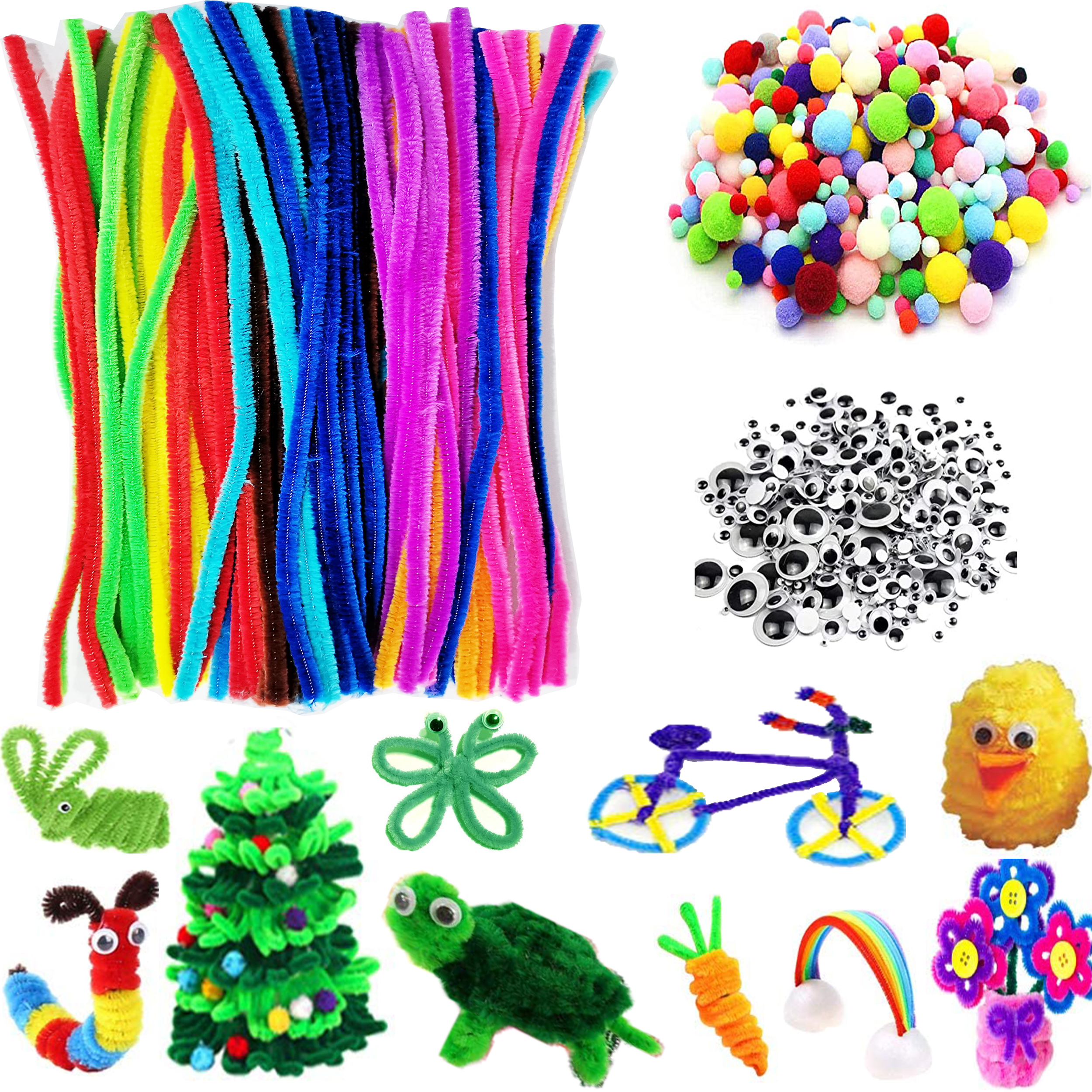 Pipe Cleaners Wooden Ornaments Wiggle Googly Eyes Pom Poms 860 PCS Assorted DIY Art Craft Kit Gem Stickers Art Decoration Party Supplies Gift for School Preschool Crafting Activities Aged 4+