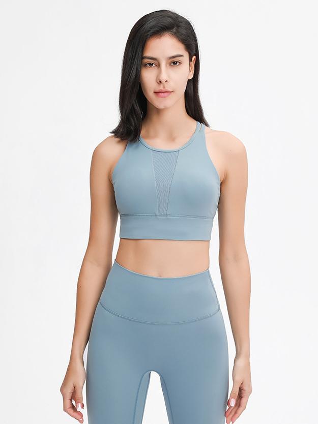 Custom Logo High Neck Sexy Mesh Sports Bra Yoga Tops Cross Straps Back Womens GYM Workout Top Bras