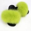 grass green lady fur slipper