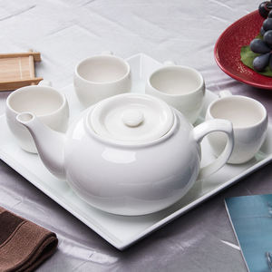 Custom Logo Ceramic Porcelain Chinese White Teapot Set with Round or Square Tray and 4pcs cups with handle