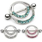 Stainless Steel Ring Stainless Steel Jeweled Gems Nipple Ring Nipple Shield Body Piercing Jewelry