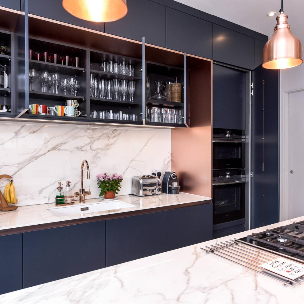 Modern Single Wall Bespoke Blue Matt Kitchen Cabinet With Large Island Buy Discontinued Kitchen Cabinets Pvc Edge Tape For Furniture Kitchen Cabinet Pvc Foam Board For Kitchen Cabinet Product On Alibaba Com