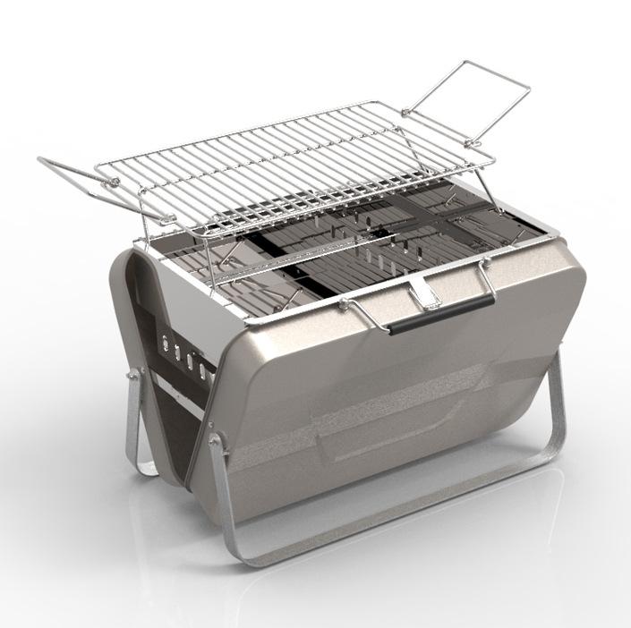 Уличный мини-гриль для барбекю на заказ, портативный портфель, стильный складной гриль для кемпинга с углем для барбекю