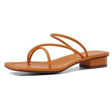 Женские шлепанцы на низком каблуке Meotina, летние шлепанцы из натуральной кожи, с квадратным носком, на толстом каблуке, 42(Китай)