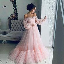 Wei yin AE0373 элегантное розовое вечернее платье с длинными рукавами 2020 недорогие платья трапециевидной формы для выпускного вечера красивые ве...(Китай)