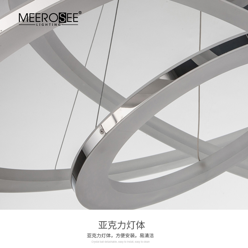 MEEROSEE Circle LED Acrylic Light Modern 3 Ring Light DIY Pose Metal Round Hanging Light for Home Apartment MD86747