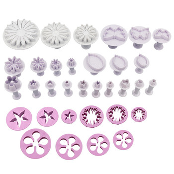 33pcs Baking Tools Plastic Fondant DIY Cake Cookie Plunger Cutter Decorating Mold Tool