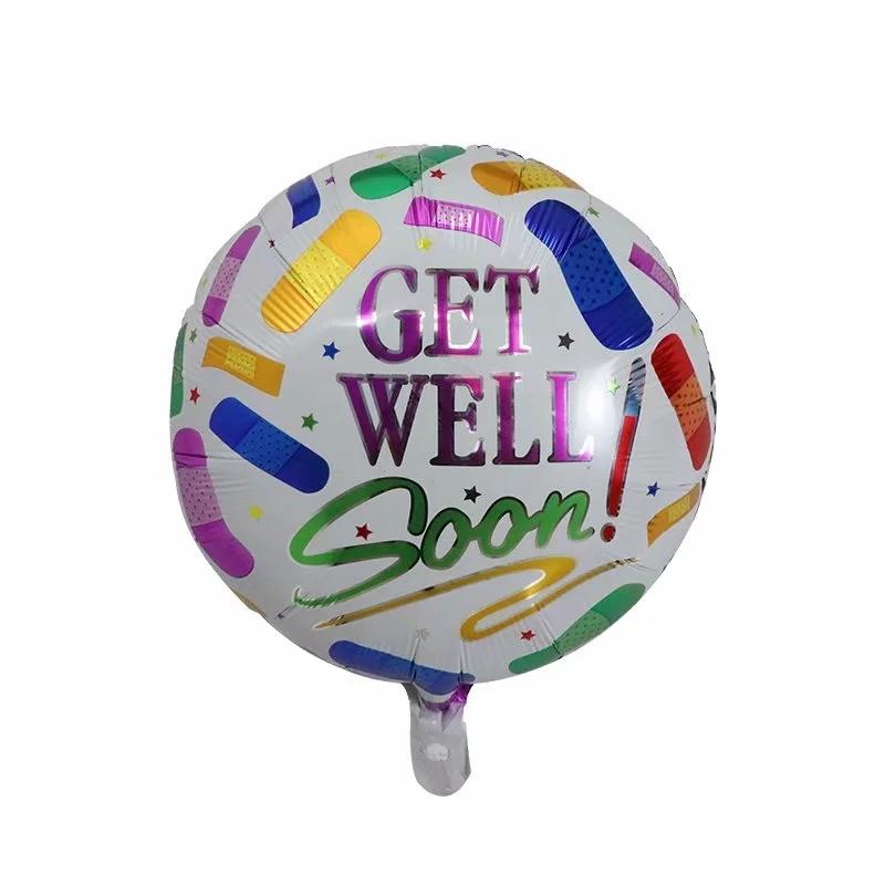 "Get Well Soon Pretty Flower Anagram Support Round Foil Helium Balloon 18/"""