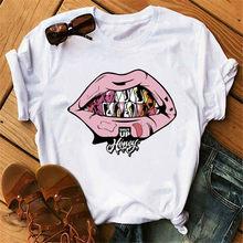 Милая мягкая эстетичная одежда для девушек с рисунком губ, летняя одежда для женщин, Белый Топ хиппи, уличная одежда, Женская Корейская одеж...(China)