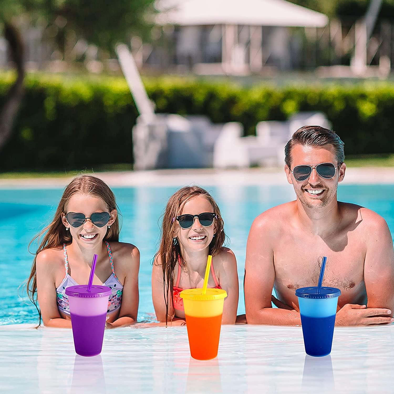 Меняющие цвет стаканы чашки с крышками соломинки 16 унций пластиковые чашки экологически чистый стакан соломинки