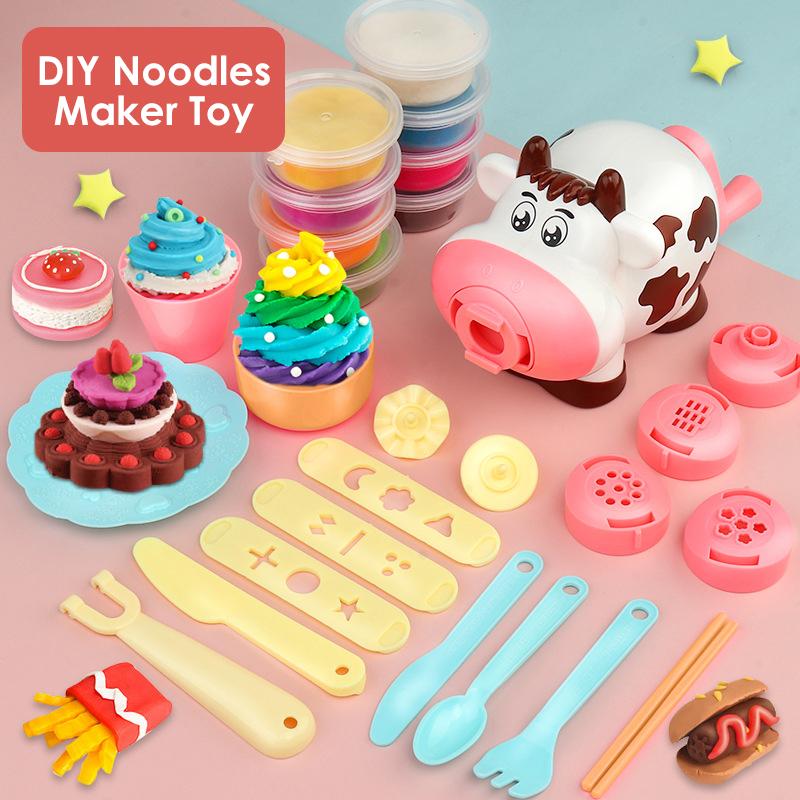 Игра «Маленький шеф-повар», игровой домик, ролевая кухонная игрушка, конструкция коровы, «сделай сам», машинка для лапши, имитация цветной глины, набор игрушек для формирования
