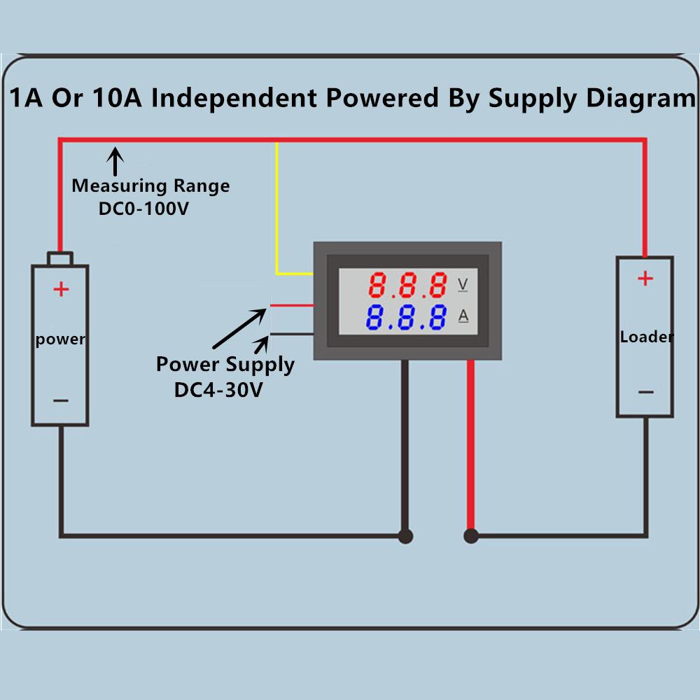 Digital DC 100 V 10 A Rouge Vert Double DEL Voltmètre Ampèremètre Jauge Volt Amp Meter