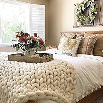 Multi Color Chunky Knit Throw Blanket Instructions With Factory Price