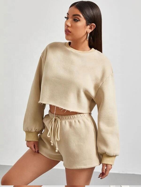 Модный женский облегающий комплект, Новое поступление 2021, модные женские свободные французские махровые шорты и рубашка, Женский комплект из свитшота