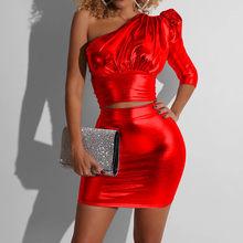 Womail, женский спортивный костюм, лето 2020, Пышный рукав, без бретелек, короткий топ, юбка, костюм из двух частей, тонкие, вечерние, праздничные н...(Китай)
