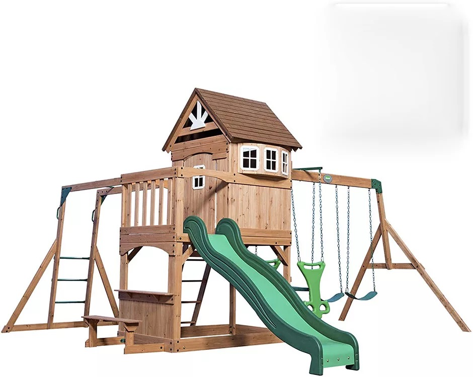 cheap customised children large wood outdoor playgrounds play house set for kids wooden supplier