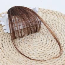 Новинка, тонкие, воздушные, аккуратные, волнистые челки, настоящие человеческие волосы Remy на заколках, с бахромой, передние волосы, воздушны...(Китай)