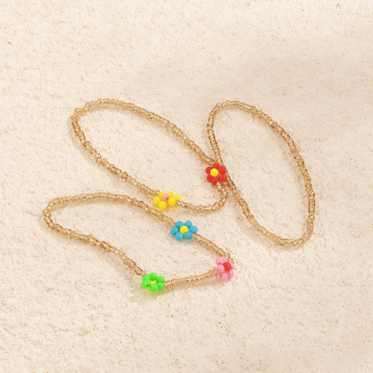 2021 Summer New Style Colorful Rainbow Glass Rice Bead Adjustable Flower Seed Beads Necklace for Women and Girls