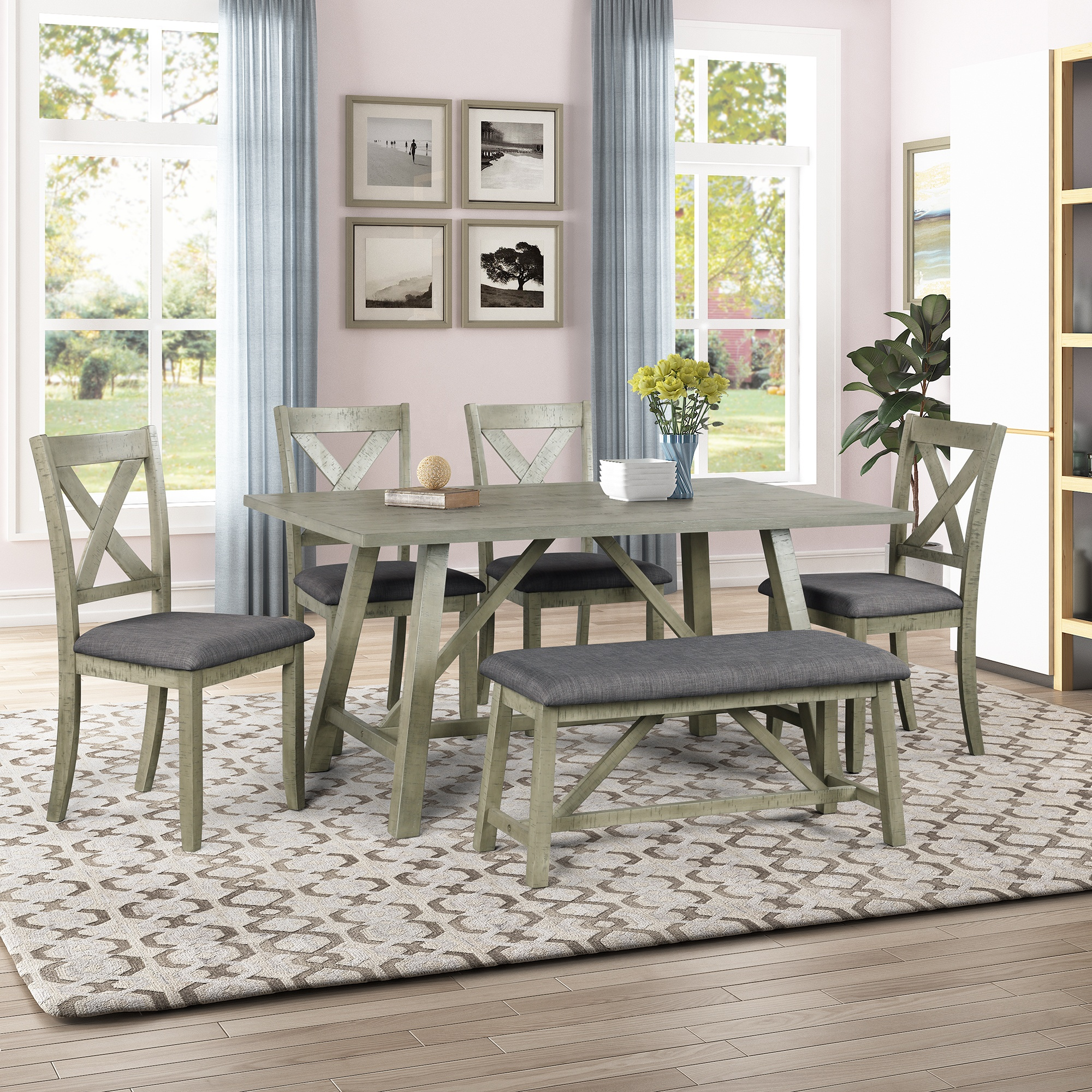 Wood Dining Table And Chair Kitchen Table Set With Table Bench And 4 Chairs Buy Kitchen Table Set Dining Table Dining Table And Chair Product On Alibaba Com
