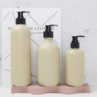 Biodegradable cosmetic container 500ml wheat straw PET plastic shampoo pump bottle with black pump lid