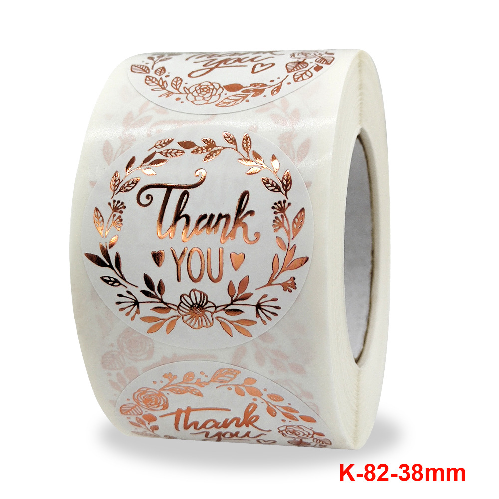 New Thank You Flower Hot Rose Gold Sticker Business Gift Wedding Decoration Adhesive Label