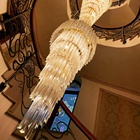Staircase Chandeliers Custom Church Extra Super Large Spiral Staircase Luxury Crystal Chandelier For Hotel Project