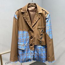 [EAM] Женский блейзер в клетку цвета хаки, большой размер, новая свободная куртка с отворотом и длинным рукавом, модная демисезонная куртка 2020 ...(Китай)