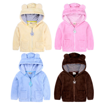 Factory Customization Unisex Long Sleeve Hooded Coral Fleece Baby Clothes Winter Coat Baby Coats Baby Winter Coat