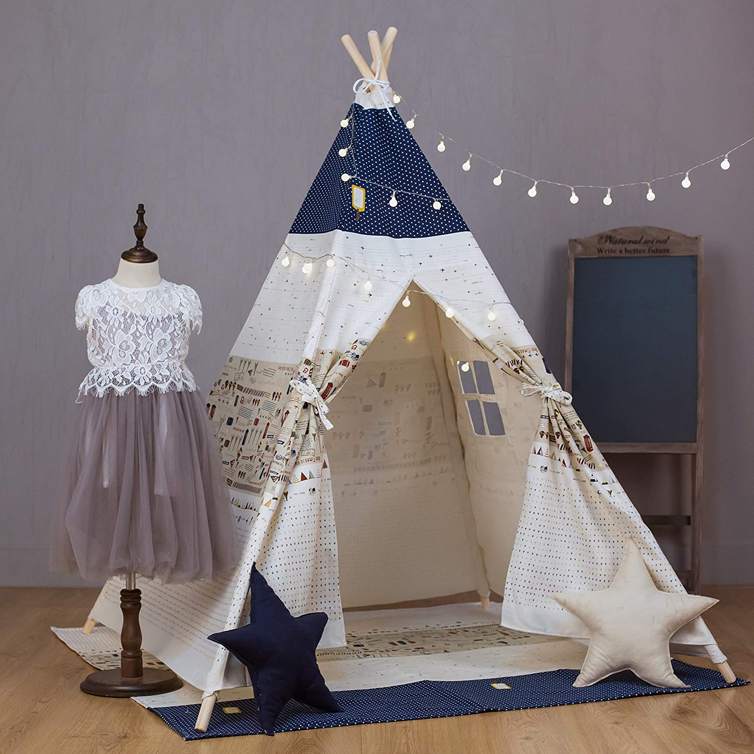 Children Play House Printed Canvas Kids Teepee For Indoor Outdoor